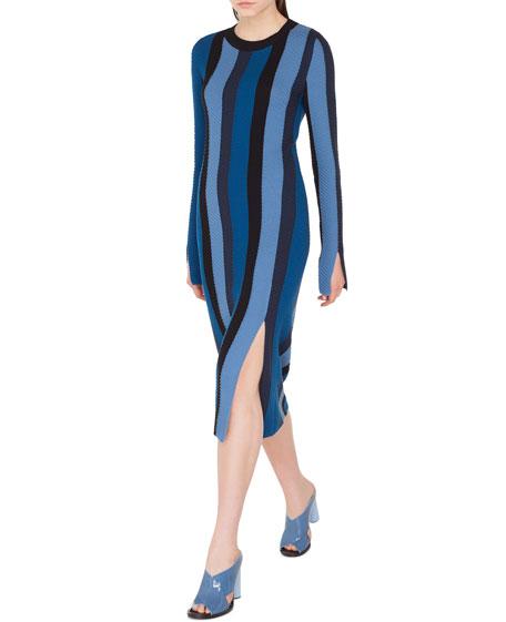 Long-Sleeve Herringbone Stripe Merino Midi Dress