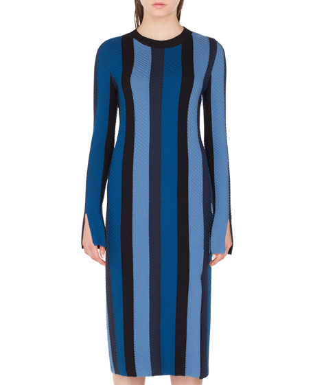 Akris punto Long-Sleeve Herringbone Stripe Merino Midi Dress