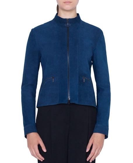 Akris punto Zip-Front Stand-Collar Suede Jacket