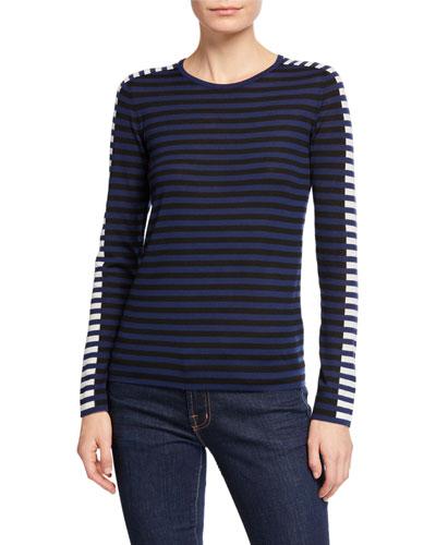Tricolor Stripe Merino Pullover Sweater