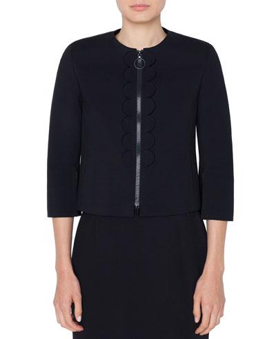 3/4-Sleeve Scalloped-Jersey Zip-Front Jacket