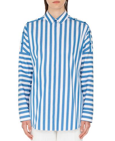 Striped Kent-Collar Button-Shoulder Long-Sleeve Cotton Blouse