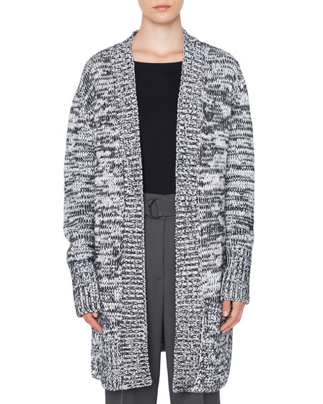 Long Chunky Melange Knit Cardigan