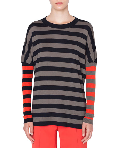 new product 128c5 4f6bb Drop-Shoulder Stripe Merino Pullover Sweater