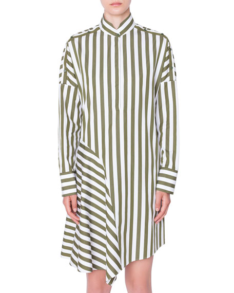 Akris punto Striped Cold-Shoulder Asymmetric Shirtdress