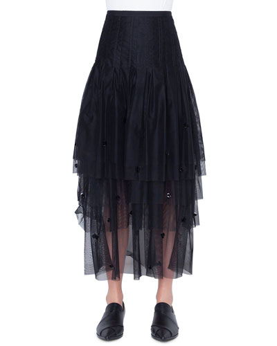 Tiered Sequined-Tulle Maxi Skirt