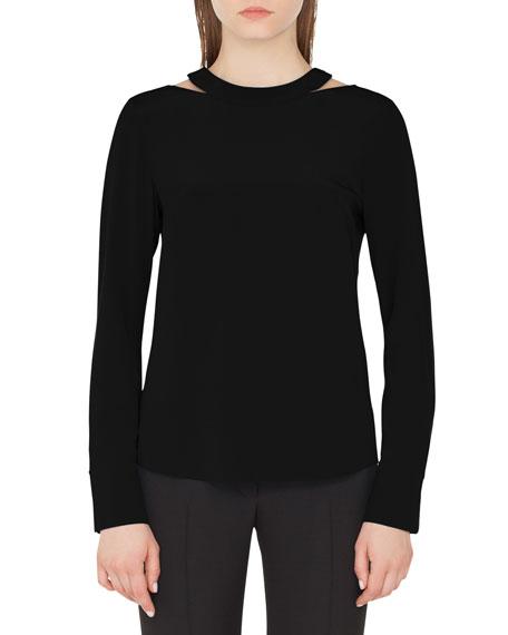 Long-Sleeve Collarbone-Cutout Silk Top