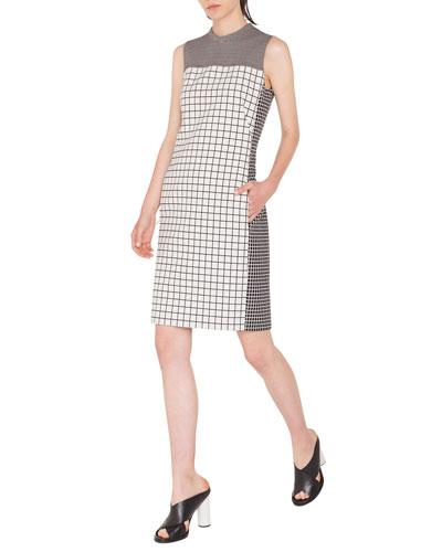 Sleeveless Mixed-Grid Sheath Dress