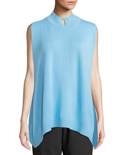 Sleeveless Slit High-Neck Cashmere Sweater