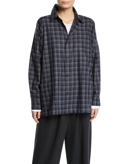 Eskandar Plaid Spread-Collar Cotton Shirt Jacket