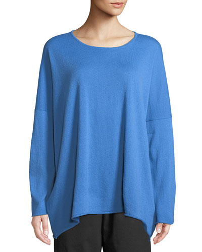 Cashmere Slim-Sleeve Raw Edge Bateau Neck Sweater