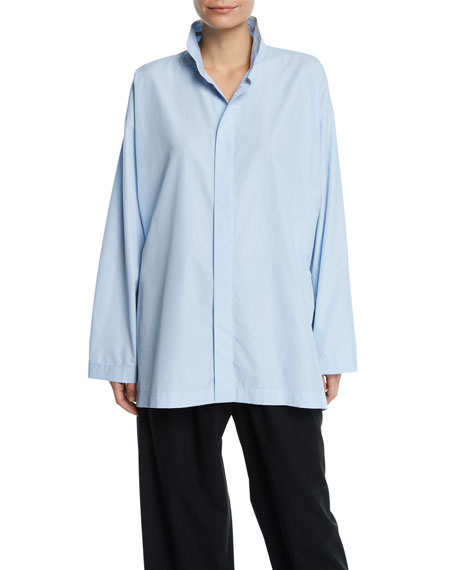 Slim A-Line Stand-Collar Button-Front Top