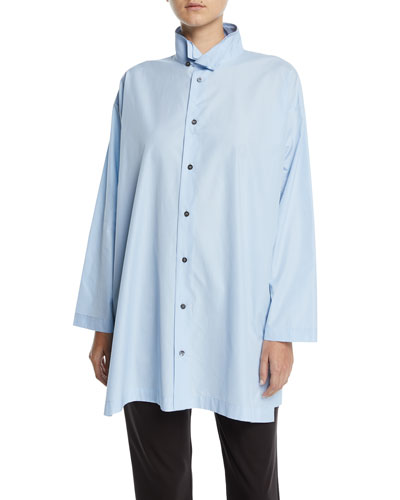 Double-Collar Button-Front Blouse, Blue