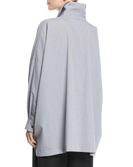 Micro-Check Spread-Collar Button-Front Blouse, Black