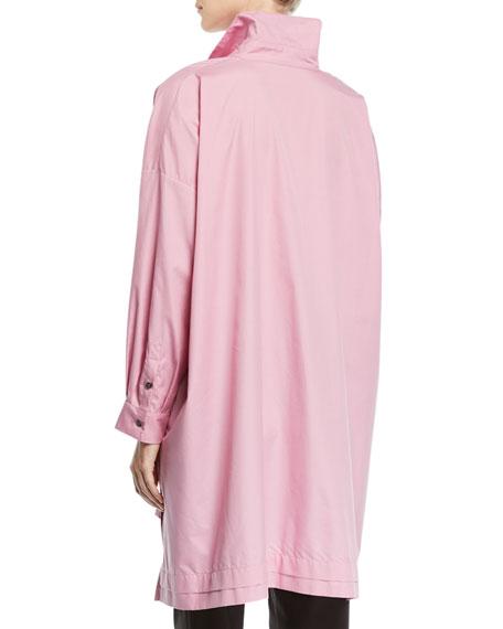 Button-Front A-Line Long Cotton Shirt w/ Slits