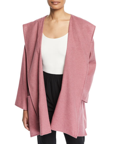 Cashmere-Silk Wide A-Line Open Front Coat