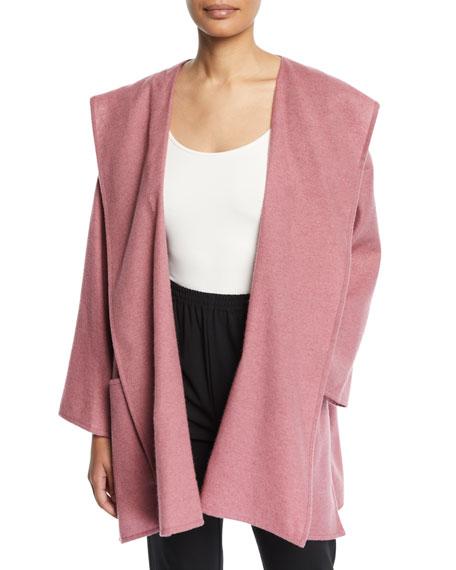 Eskandar Cashmere-Silk Wide A-Line Open Front Coat