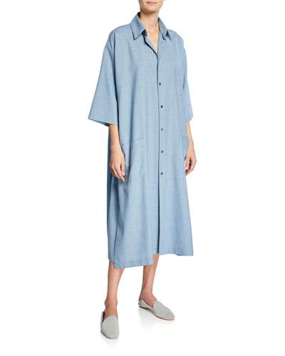 3/4-Sleeve Wool-Cashmere Shirtdress