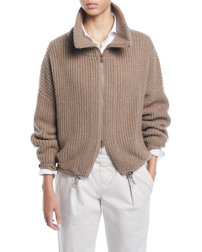 English-Ribbed Cashmere Zip-Front Cardigan