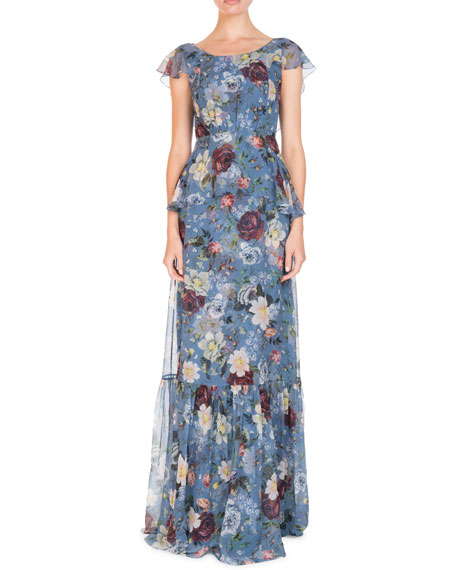 Erdem Julianna Scoop-Neck Cap-Sleeve Floral-Print Silk Chiffon