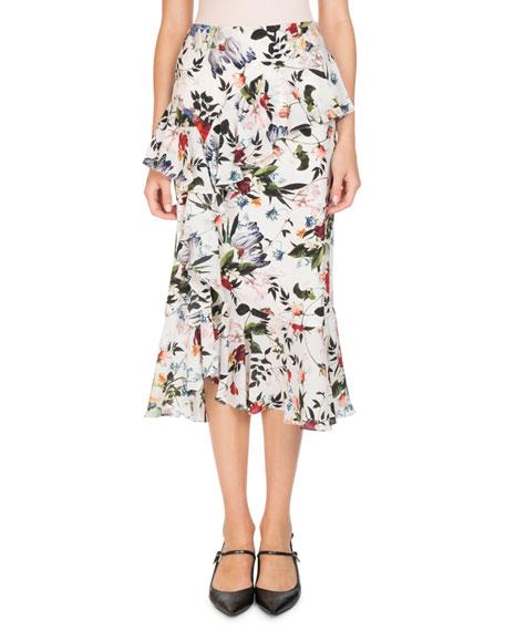 Erdem Vesper Floral-Print Ruffled Silk Midi Skirt