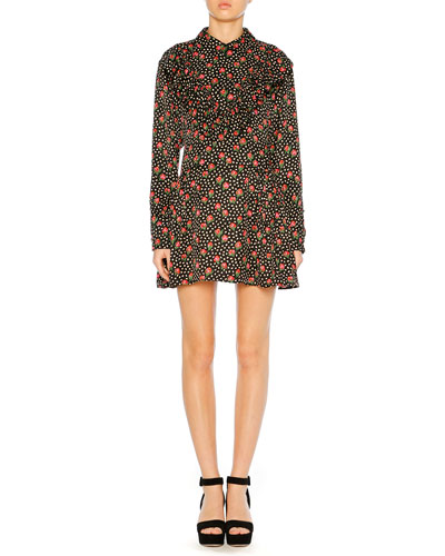 Button-Down Back Floral-Jacquard Silk Long-Sleeve Short Dress