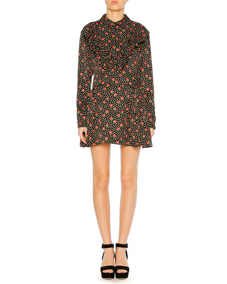 Miu Miu Button-Down Back Floral-Jacquard Silk Long-Sleeve Short
