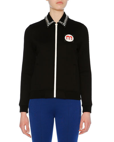 Embellished-Collar Zip-Front Jersey Sweatshirt Jacket