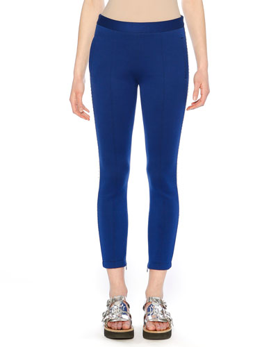Embellished Track-Stripe Fitted Cotton Jersey Cropped Pants
