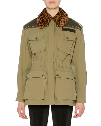 Leopard-Print Fur Collar Cotton Drill Utility Jacket