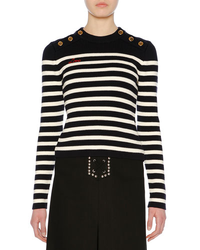Love-Embroidered Button-Shoulder Striped Crewneck Sweater
