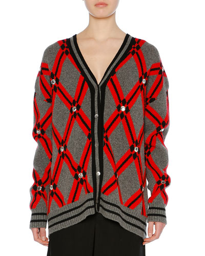 Button-Front Embellished Argyle-Jacquard Cardigan
