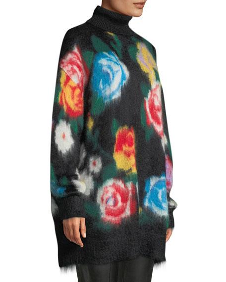 36f99980a3b Miu Miu Rose-Intarsia Mohair Turtleneck Sweater