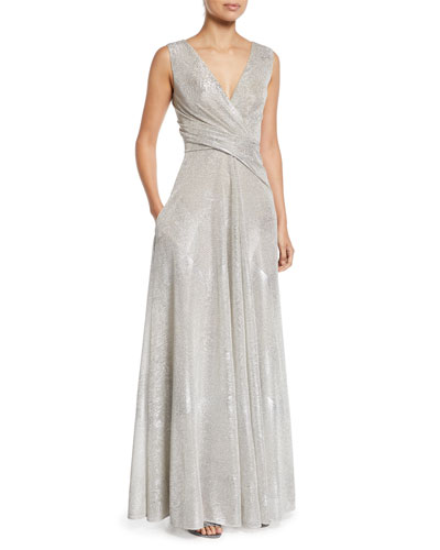 V-Neck Sleeveless A-Line Metallic Evening Gown