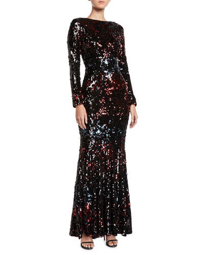 Long-Sleeve Sequin Trumpet Evening Gown