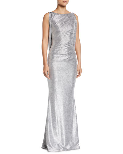 Ponceau 8 Sash-Back Boat-Neck Metallic Trumpet Evening Gown