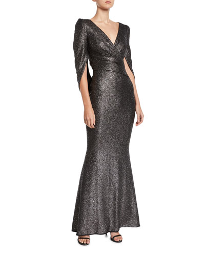 V-Neck Cape-Sleeve Embellished Trumpet Evening Gown