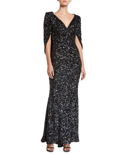 V-Neck Cape-Sleeve Sequined Trumpet Evening Gown