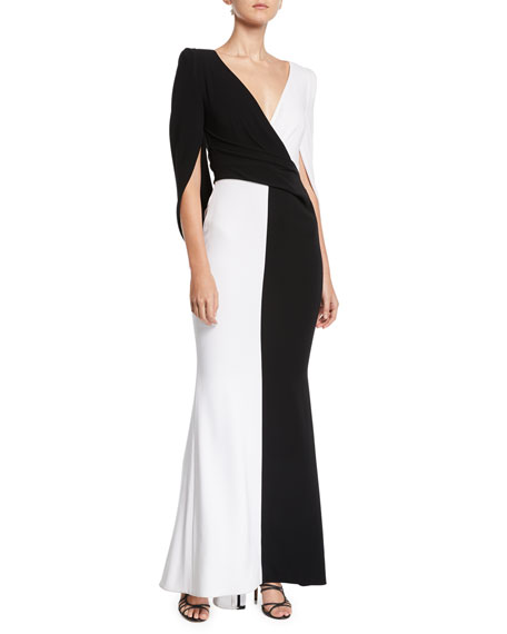 Talbot Runhof V-NECK CAPE-BACK TRUMPET COLORBLOCKED EVENING GOWN