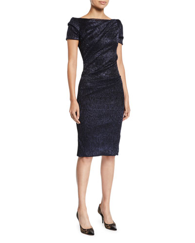Boat-Neck Cap-Sleeve Gathered Metallic Cocktail Dress