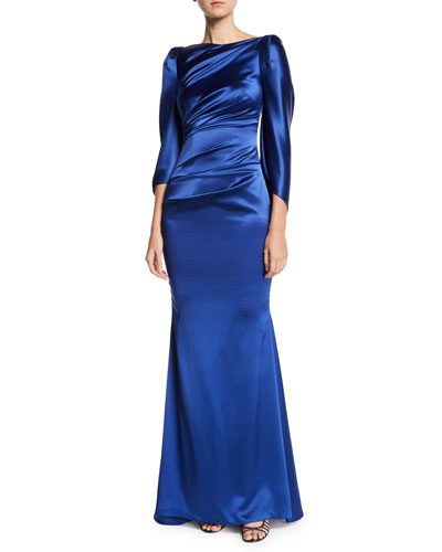 High-Neck Cape-Sleeve Satin Trumpet Evening Gown