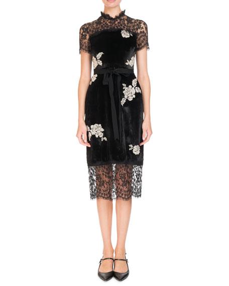 Keni Short-Sleeve Lace & Velvet Shift Dress w/ Pearly Roses
