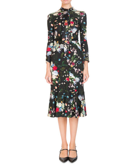 Erdem Hilma Tie-Neck Long-Sleeve Floral-Print Jersey Midi Dress