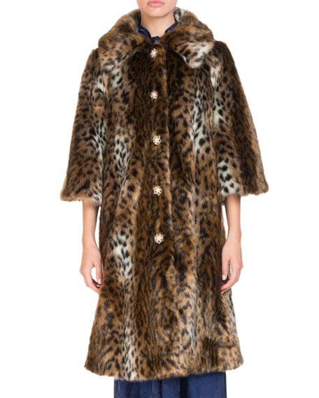 Erdem Sorayah Leopard-Print Faux-Fur 3/4-Sleeve Mid-Length Coat