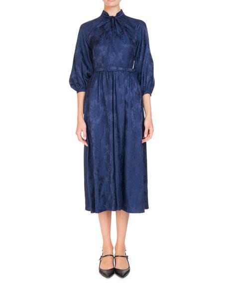 Erdem Adrienne 3/4-Sleeve Satin Jacquard Belted Midi Dress