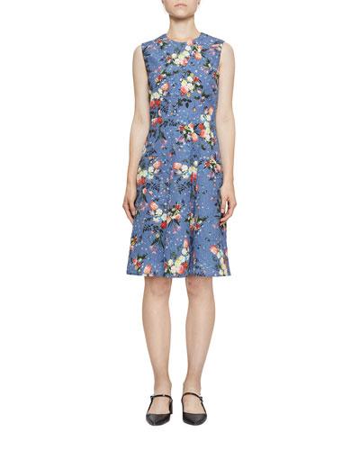 Yesim Sleeveless Floral Drop-Waist Dress
