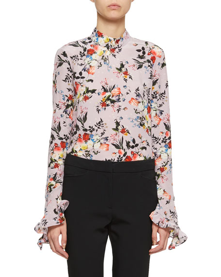 Lindsey Bell-Sleeve High-Neck Floral Blouse