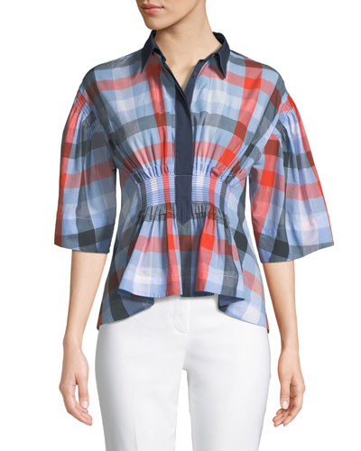 Collared 3/4-Sleeve Smocked-Waist Buffalo-Plaid Poplin Blouse