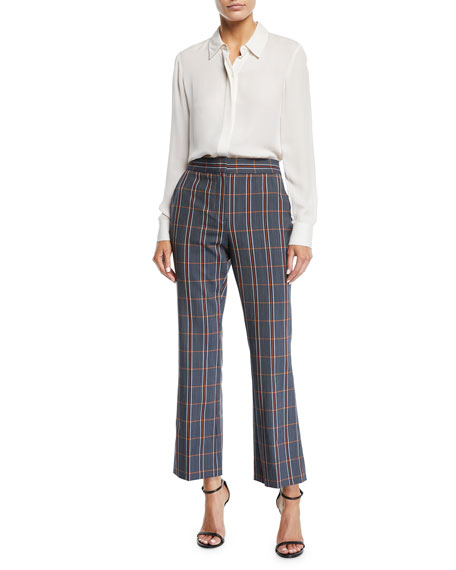 Plaid Flared-Leg Cropped Trousers