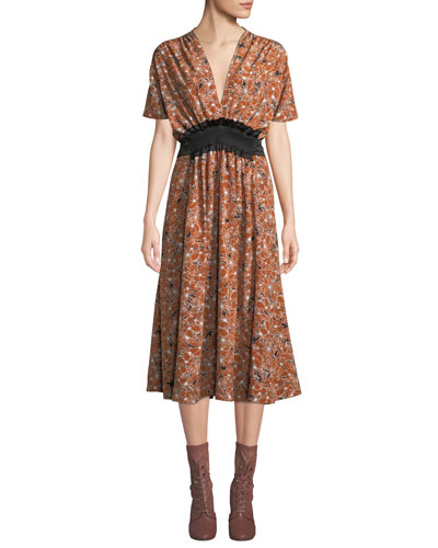 Short-Sleeve V-Neck Tie-Waist Floral-Print Midi Dress